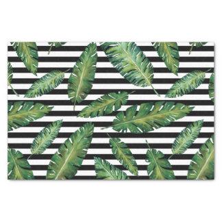 Papier Mousseline Le noir barre le motif tropical d'été de feuille