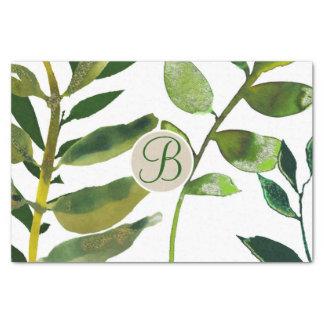 Papier Mousseline Le vert botanique laisse l'initiale de lettre de