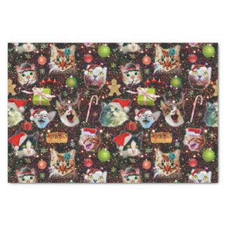 Papier Mousseline Les chats de Noël dans la galaxie de l'espace