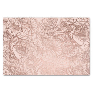 Papier Mousseline L'illustration florale d'or rose moderne