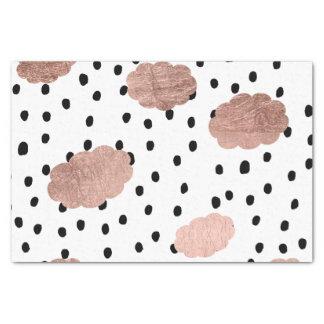 Papier Mousseline L'or rose moderne opacifie le pois noir de pluie