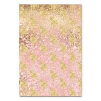 Papier Mousseline L'or rougissent licorne magique rose