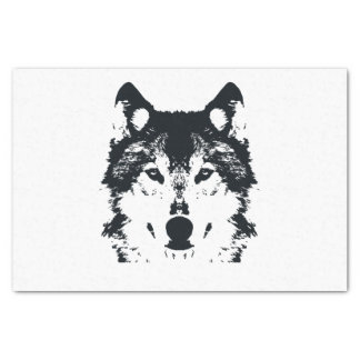 Papier Mousseline Loup noir d'illustration