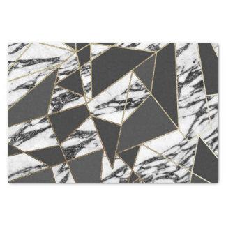 Papier Mousseline Marbre moderne chic d'or et géométrique noir