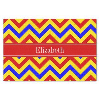 Papier Mousseline Monogramme nommé rouge rouge, jaune, bleu