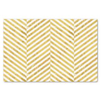 Papier Mousseline Motif blanc de rayures de feuille d'or élégante de