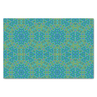 Papier Mousseline Motif bleu et vert de kaléidoscope