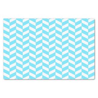 Papier Mousseline Motif bleu lumineux blanc en arête de poisson de