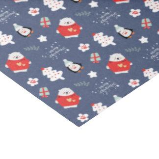 Papier Mousseline Motif bleu lunatique de créatures de Noël