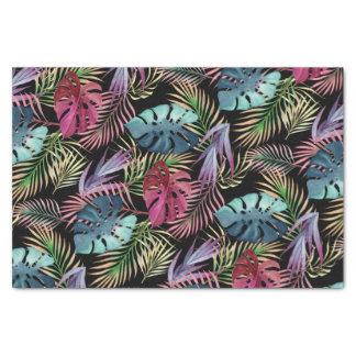 Papier Mousseline Motif botanique de feuillage tropical coloré