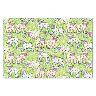 Papier Mousseline Motif d'agneaux de Pâques sur Paisley