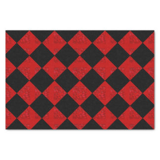 Papier Mousseline Motif de contrôleur de diamant de rouge noir et