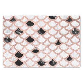 Papier Mousseline Motif de marbre blanc de feston de noir rose Girly