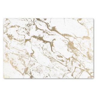Papier Mousseline Motif de marbre blanc d'or chic moderne de faux