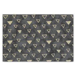 Papier Mousseline Motif de marbre noir élégant de triangle d'or