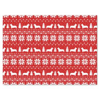 Papier Mousseline Motif de Noël de silhouettes de corgi de Gallois