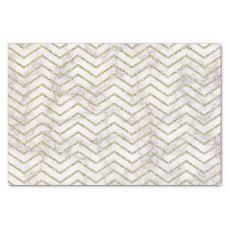 Papier Mousseline Motif élégant de Chevron de blanc et d'or