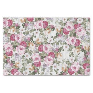 Papier Mousseline Motif en bois blanc rustique floral vintage de