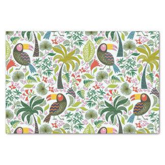 Papier Mousseline Motif exotique coloré d'oiseaux et de fleurs