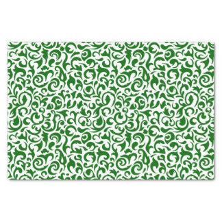Papier Mousseline Motif floral de damassé blanche vert-foncé
