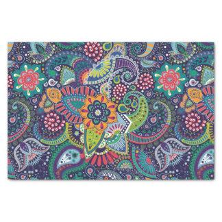 Papier Mousseline Motif floral multicolore au néon de Paisley