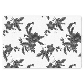 Papier Mousseline Motif floral noir vintage