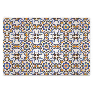 Papier Mousseline Motif jaune bleu d'Azulejo de Portugais vintage