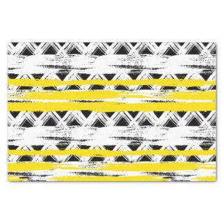 Papier Mousseline Motif tribal de rayures jaunes blanches noires