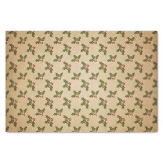 Papier Mousseline Motif vintage de houx de Noël