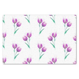Papier Mousseline Motif violet rose d'aquarelle de tulipes