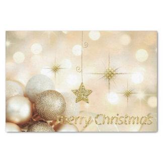 Papier Mousseline Noël d'or de boules et d'étoiles d'ornement de