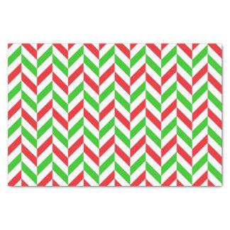 Papier Mousseline Noël en arête de poisson rouge et vert de motif