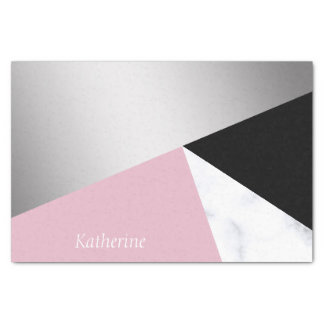 Papier Mousseline Noir rose de marbre blanc argenté géométrique