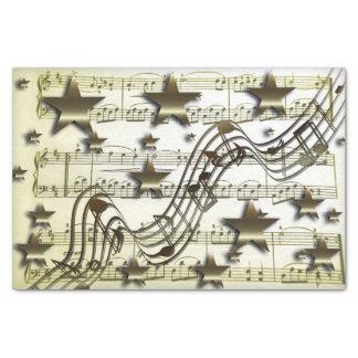 Papier Mousseline Notes blanches de musique d'étoile d'or de papier