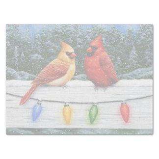 Papier Mousseline Oiseaux et lumières de Noël cardinaux