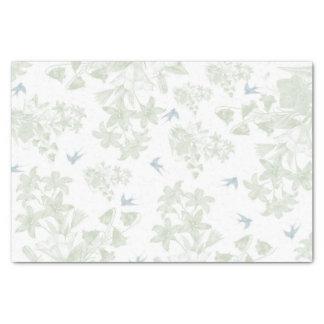 Papier Mousseline Oiseaux gris floraux élégants vintages verts