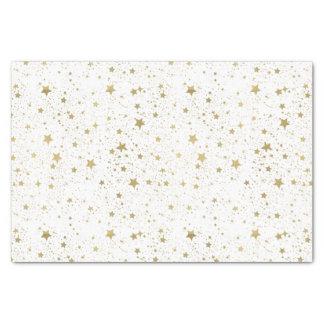 Papier Mousseline Or et étoiles de scintillement blanches