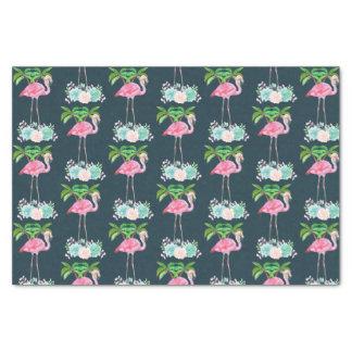 Papier Mousseline Palmiers roses de flamant et Succulents floraux