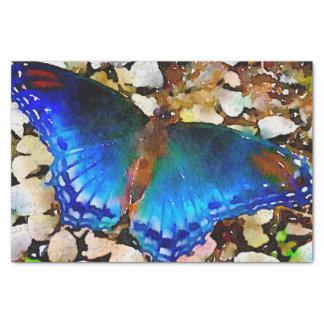 Papier Mousseline Papillon d'aquarelle de vert bleu d'indigo