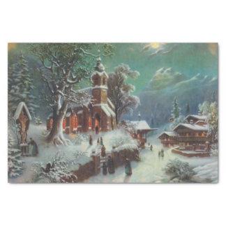 Papier Mousseline Peinture de genre rurale vintage de réveillon de