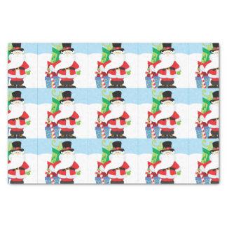 Papier Mousseline père Noël dans le tophat par la pile de presentts