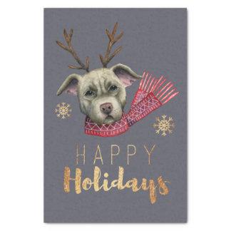 Papier Mousseline Pitbull de renne de Noël avec des polices d'or de