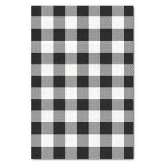 Papier Mousseline Plaid de contrôle de Buffalo blanc et noir -