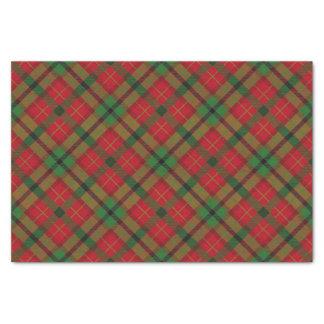 Papier Mousseline Plaid de tartan rouge vert rustique de vacances de