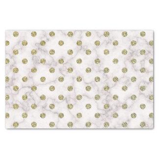 Papier Mousseline Point de polka de marbre blanc élégant d'or