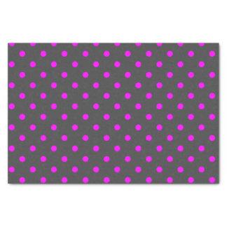 Papier Mousseline Pois gris et rose moyen