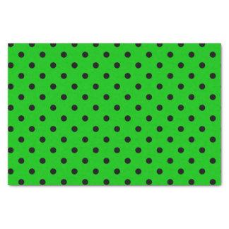 Papier Mousseline Pois vert et noir au néon