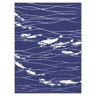 Papier Mousseline Poissons nageant sous l'eau le bleu