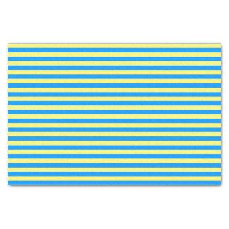 Papier Mousseline Rayures de bleu français et de jaune