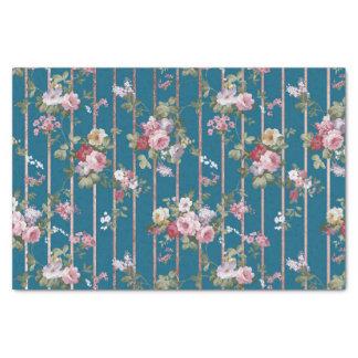 Papier Mousseline Rayures modernes florales rouge-rose bleues de